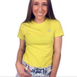 Adidas neon yellow short sleeve logo shirt small